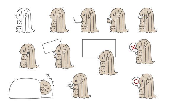 いろんなアマビエ様のイラスト・アイコン(仕事・睡眠・休憩・マスク・看板・○×札)
