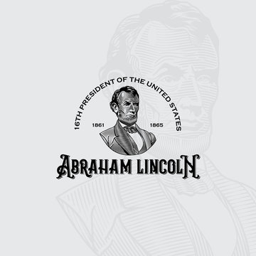 Abraham Lincoln vector Engraving style portrait