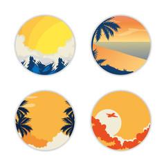 Wall Mural - set of summer landscapes in frames circular vector illustration design
