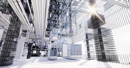 BIM model conceptual visualization of the utilities of the building Wall mural