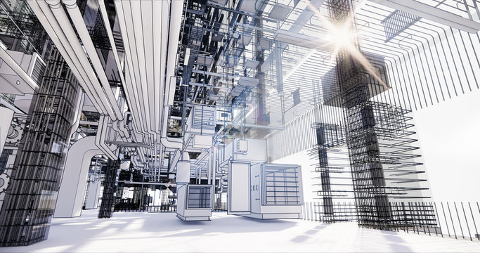 BIM model conceptual visualization of the utilities of the building