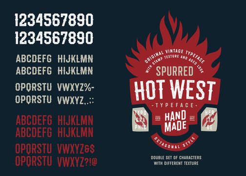 """Vintage Textured Spurred Octagonal Sans Serif Typeface """"Hot West"""". Double Set of Letters and Numbers with Different Texture. Western Style Alphabet Font."""