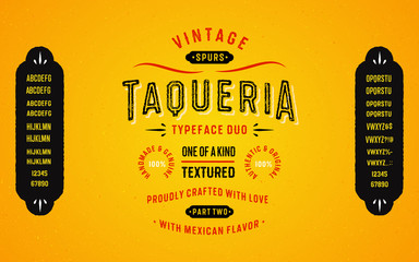 Vintage Textured Typeface Duo with Mexican Flavour