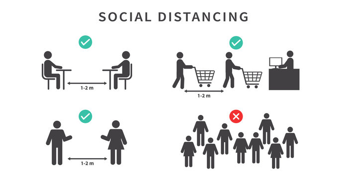 Social distancing. Keep the 1-2 meter distance. Avoid crowds. During the coronavirus epidemic. Vector illustration