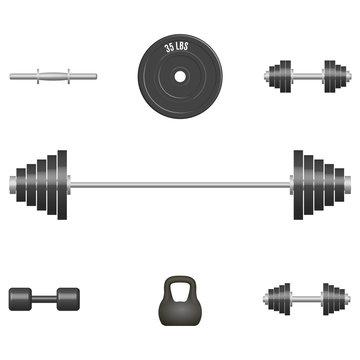 Set of 3D sports equipment items, vector illustration.