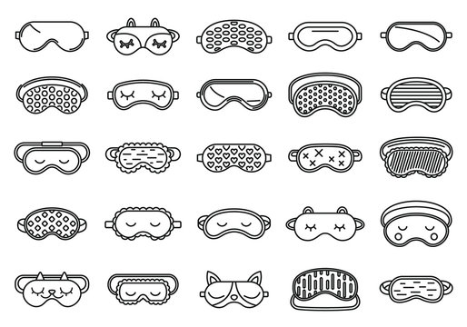 Face sleeping mask icons set. Outline set of face sleeping mask vector icons for web design isolated on white background