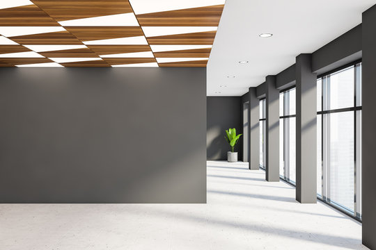 Empty gray office hall with mock up wall