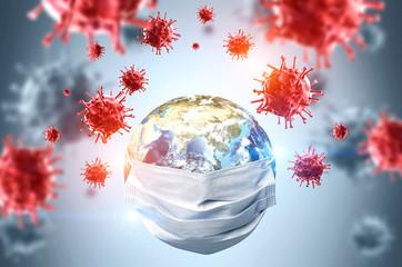 Earth in mask, coronavirus pandemic concept