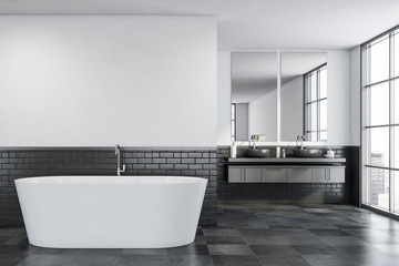 White and gray bathroom, tub and sink Wall mural
