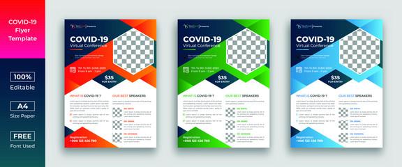 COVID 19 virtual conference flyer template design