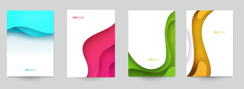 Set of minimal template in paper cut style design for branding, advertising with abstract shapes. Modern background for covers, invitations, posters, banners, flyers, placards. Vector illustration.