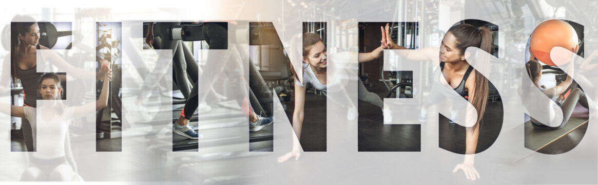 Active lifestyle. Collage of young sporty girls working out together at gym with an overlay of the word FITNESS. Panoramic banner header. Sport background