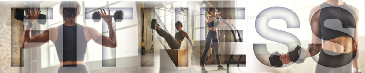 Deurstickers Fitness Sport background. Strong sporty woman working out at gym with an overlay of the word FITNESS. Working out with dumbbells. Panoramic banner header. Fitness