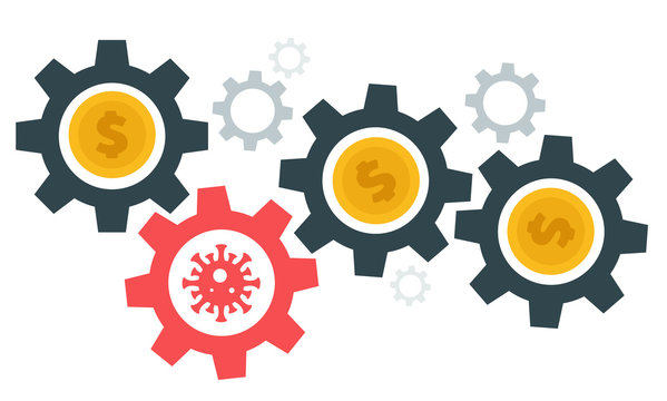 Gear with money and virus. Abstract design concept with world coronavirus pandemic and crisis of global financial business system. Creative minimalistic cartoon composition. Vector illustration.
