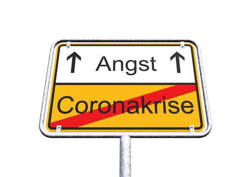 3d Illustation - Ortsschild - Ortstafel - SARS-CoV-2 - Coronakrise - Angst - Coronavirus - Freisteller