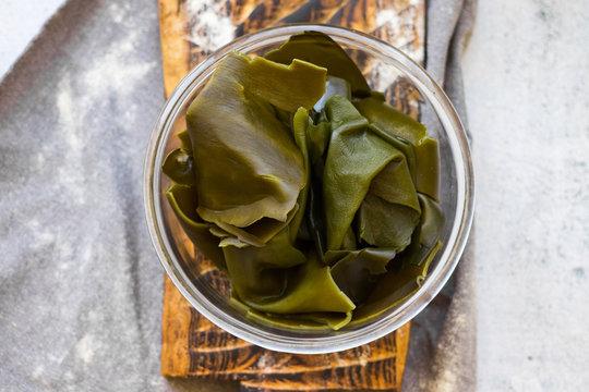 Kombu or laminaria leaves -  Japanese or Chinese seaweed salad.