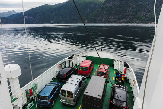 Ferry that transports cars. Fjord Norway