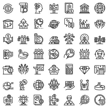 Broker icons set. Outline set of broker vector icons for web design isolated on white background