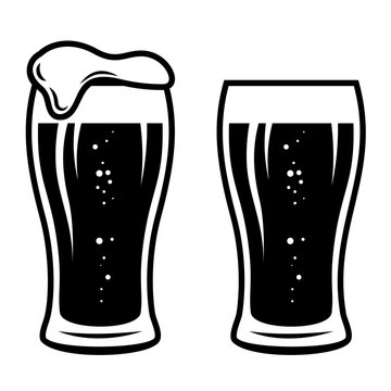Illustration of mug of beer in engraving style. Design element for logo, label, sign, poster, t shirt. Vector illustration