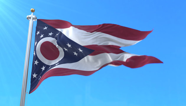 Flag of american state of Ohio, region of the United States of America, waving at wind
