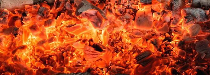 Fotobehang Brandhout textuur Burning coals textured background.