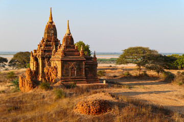 Myanmar pagoda near the green trees and yellow grass. Ancient temple.