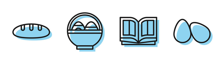 Set line Holy bible book, Bread loaf, Basket with easter eggs and Easter eggs icon. Vector Fotomurales