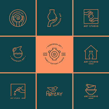 Set of vector logo layouts for art studio, pottery or ceramic studio