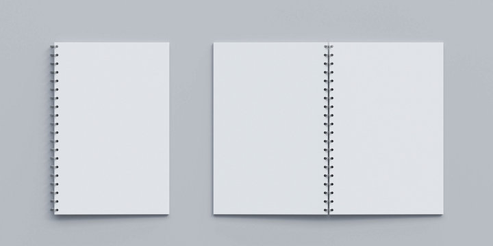 Open and closed blank note book on white desk copy space empty blank to add your content 3d render illustration