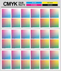 Colour palette to CMYK. Process color. Color palette color composition conform to the CMYK description. Cyan. Magenta. Yellow. Black