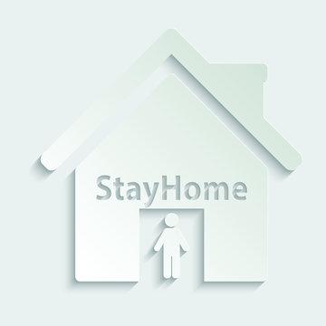Paper stay home icon  sign lockdown icon home icon with lock symbol quarantine