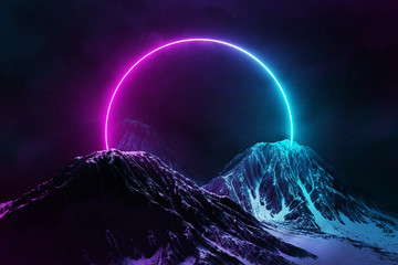 Abstract background with blue and pink neon light circle reflecting on snowy mountains 3D rendering