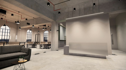 Interior Empty Modern Loft Office open space modern office footage.Modern open concept Lobby and reception area meeting room design.3d Rendering .