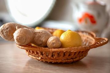 Ginger root and lemon