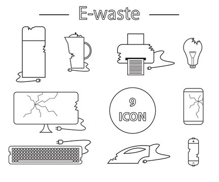 Line style icon collection - black and white e-waste elements. Electrical waste symbols collection -  computer; phone; kettle; printer; monitor; broken glass; iron, battery, keyboard, light bulb.