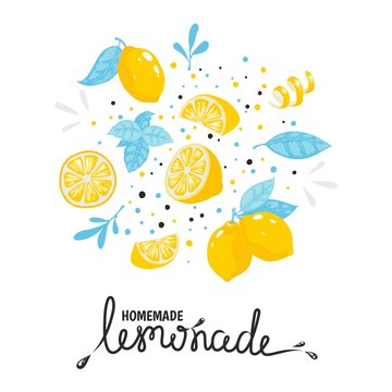 Homemade lemonade hand drawn typography. Summer natural cold cocktail with lemon. Vector handmade drink sketch lemon illustration sticker