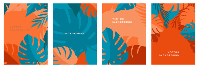 Vector set of abstract backgrounds with copy space for text - bright vibrant banners, posters, cover design templates, social media stories Fototapete