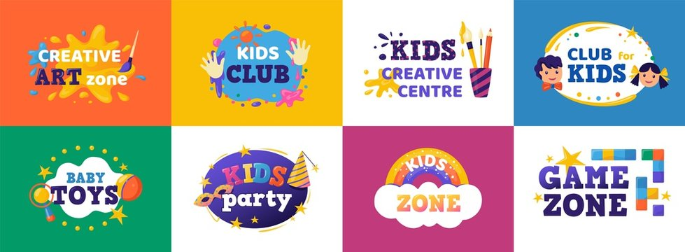 Kids club banner. Children play zone and kids toys signs, colorful fun badges for toy store, education room clubs and entertainment zone. Vector illustration logo child party set