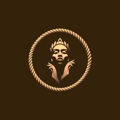 Golden Queen Logo Template With Gold Colour Isolated on Dark Background, Vector Illustration EPS10. Goddess, Logo, Sign, Symbol