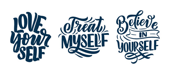 Set with selfcare lettering quotes for blog or sale. Time to something nice. Beauty, body care, premium cosmetics, delicious, ego. Modern calligraphy. Vector design prints Wall mural