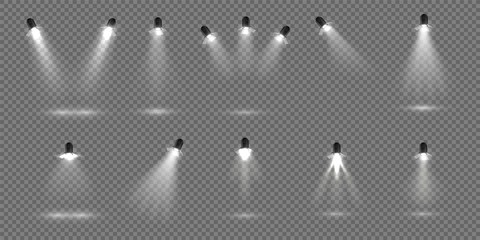 Spotlight for stage. Realistic floodlight set. Illuminated studio spotlights for stage. Vector illustration stage lighting effect for theater or concert backdrop Fototapete