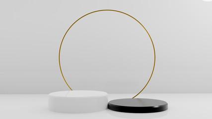 3d rendering illustration of background abstract pedestal board, cylinder art display mockup for...
