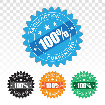 100 percent customer satisfaction seal with transparent background.