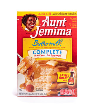 Millburn, New Jersey, USA - April 11, 2020: A box of Aunt Jemima Buttermilk Complete pancake and waffle mix.