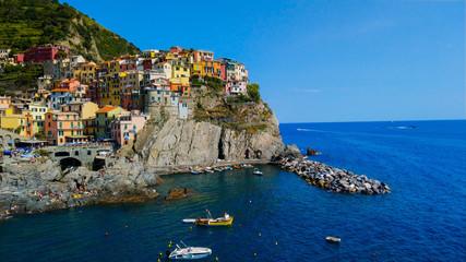 Keuken foto achterwand Liguria Panoramic View Of Sea And Buildings Against Sky