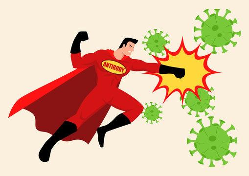 Superhero fighting viruses