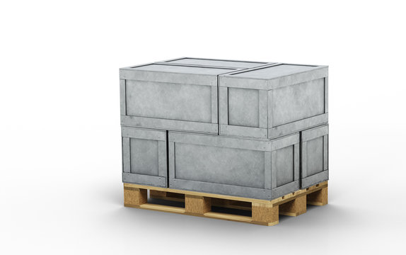 Six Metal transportation boxes loaded on a wood pallet