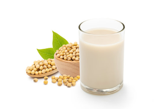 Soy milk in glass isolated on white background,