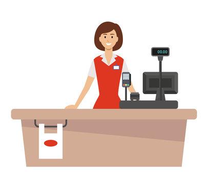 Supermarket cash desk and woman cashier