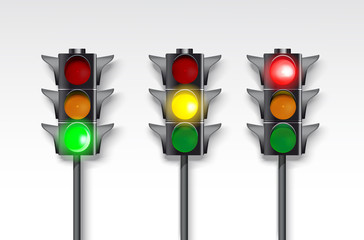 set of traffic lights on a white background.  Burning green, red and green.  Fotomurales